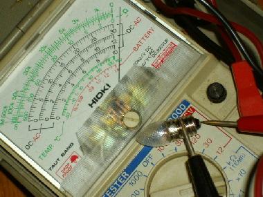新しい電球の抵抗測定